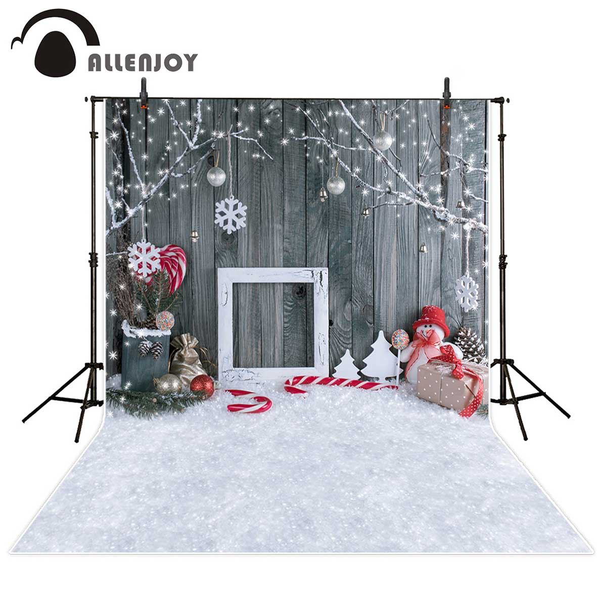 Allenjoy photographic background Christmas snowman gray woodwall snowflake backdrop photocall new photobooth vinyl photography photographic studio background white clouds blue dinette chinese style new born professional xmas photocall background pictures