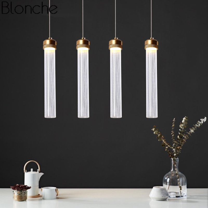 Nordic Tube Glass Pendant Lights For Dining Room Kitchen Light Fixtures Led Gold Hanging Lamp Industrial Decor Home Luminaire