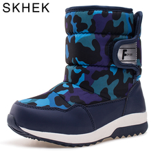 SKHEK New Winter Children Snow Boot Thick Warm Cotton-Padded Kids Shoes Slip-resistant  Boots Plush Girls Boots