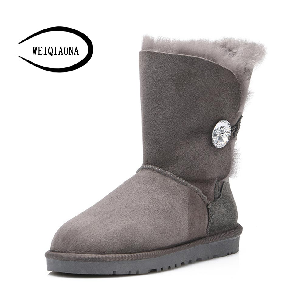 WEIQIAONA 100% real wool natural fur winter classic original sheepskin woman fur top quality genuine leather warm snow boots top quality 100