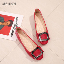 ARSMUNDI Red Women Ballet Flats Portable Fold up Ladies Travel Drive Flat Shoes Comfortable Soft Ballerina Square buckle M158 недорого
