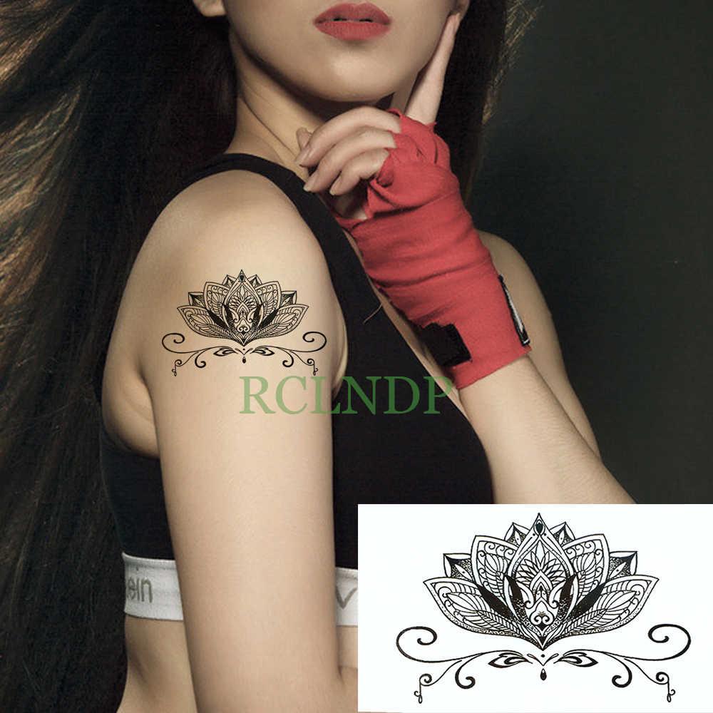 Totens falso Tatto Temporária à prova d' água Adesivos Tatuagem de flor de Lótus Flash Tattoo Tatouage Mão Pé de Trás do ombro para a Menina Mulheres