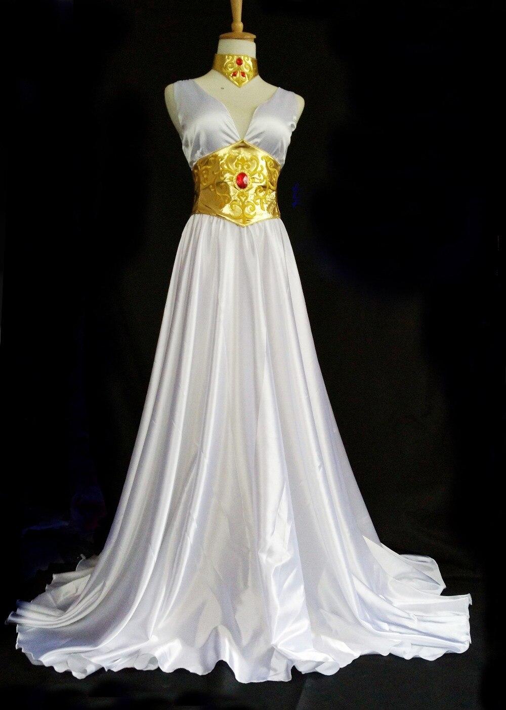 Anime Saint Seiya Athena White Mullet Lolita dress Cosplay Costume Gorgeous party Dress custom made halloween costume for women