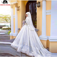 Muslim Long Sleeve Wedding Dresses Beaded Lace Bridal Gown With Hijab Veil Flowers Pearls Wedding Gowns High quality customize