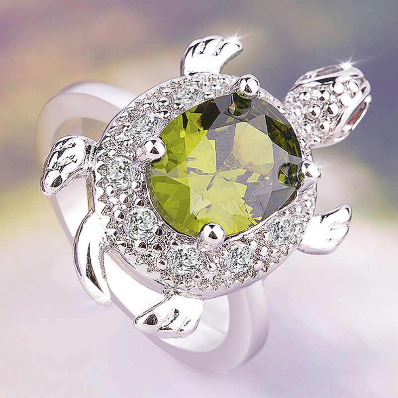 หญิงบิ๊กมะกอกสีเขียวเต่าแหวน Retro 925 เงินคริสตัล Zircon แหวนหินสำหรับผู้หญิงงานแต่งงานเครื่องประดับวันวาเลนไทน์ของขวัญ