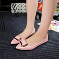 2017 Spring Summer Patent Leather Women Shoes Shallow Mouth Slip On Casual Shoes Work Wear Buckle Ladies Pointed Toe Women Flats