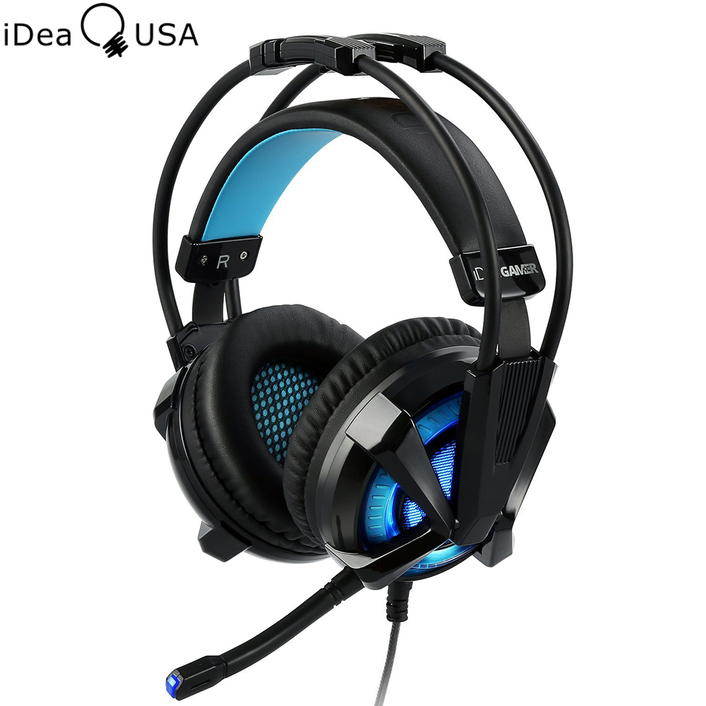 iDeaUSA S409 Virtual 7.1 Surround Sound USB Gaming Headphone Noise Cancelling Over Ear Gamer Headset Vibration Vol Control LED xiberia k3 over ear pc gamer game headset usb 7 1 virtual surround sound stereo bass pro gaming headphone with mic vibration led
