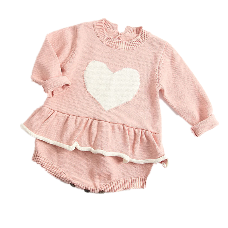 Knitted baby   rompers   heart Climbing Clothing Autumn New Baby Girl Overall   Romper   Handmade cotton knitted jumpsuit kids clothes