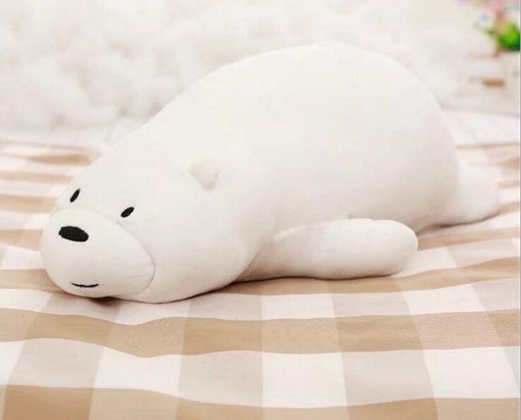 Moyen mignon peluche ours blanc jouet doux couché ours oreiller poupée cadeau environ 70 cm