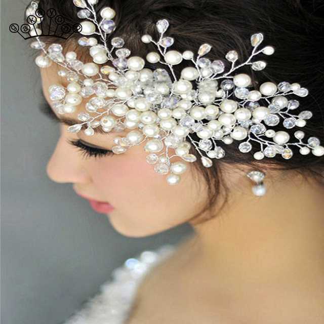 Pearl Rhinestones Wedding Hair Comb For Women Crystal Hair Jewelry Handmade Bride Headdress Hair Accessories