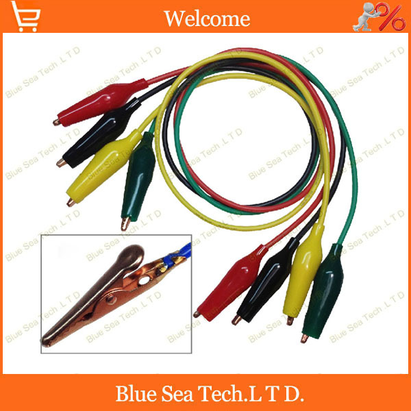 2pcs Good five color 0.5M silicone cable with test clips on both ends 16AWG,1.27 sq,10A utility test cable Free Shipping