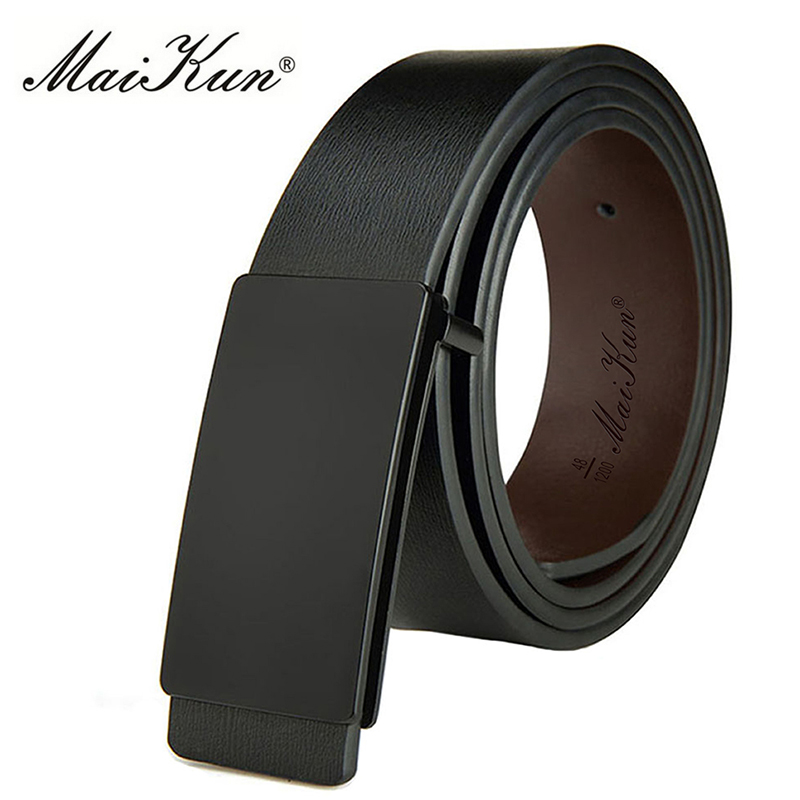 Maikun Belts for Men High Quality Smooth Buckle Synthetic Leather Male Belt Fashionable Men Belt for Jeans