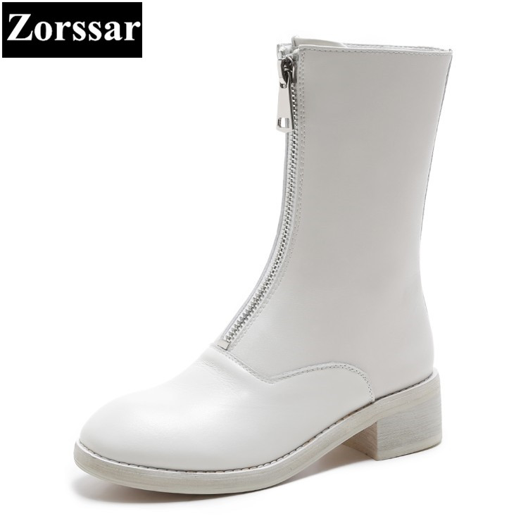 {Zorssar}2018 NEW fashion women boots Genuine leather zipper Round Toe Mid heels womens Mid-Calf boots Autumn winter women shoes 2018 new arrival fashion winter shoe genuine leather pointed toe high heel handmade party runway zipper women mid calf boots l11