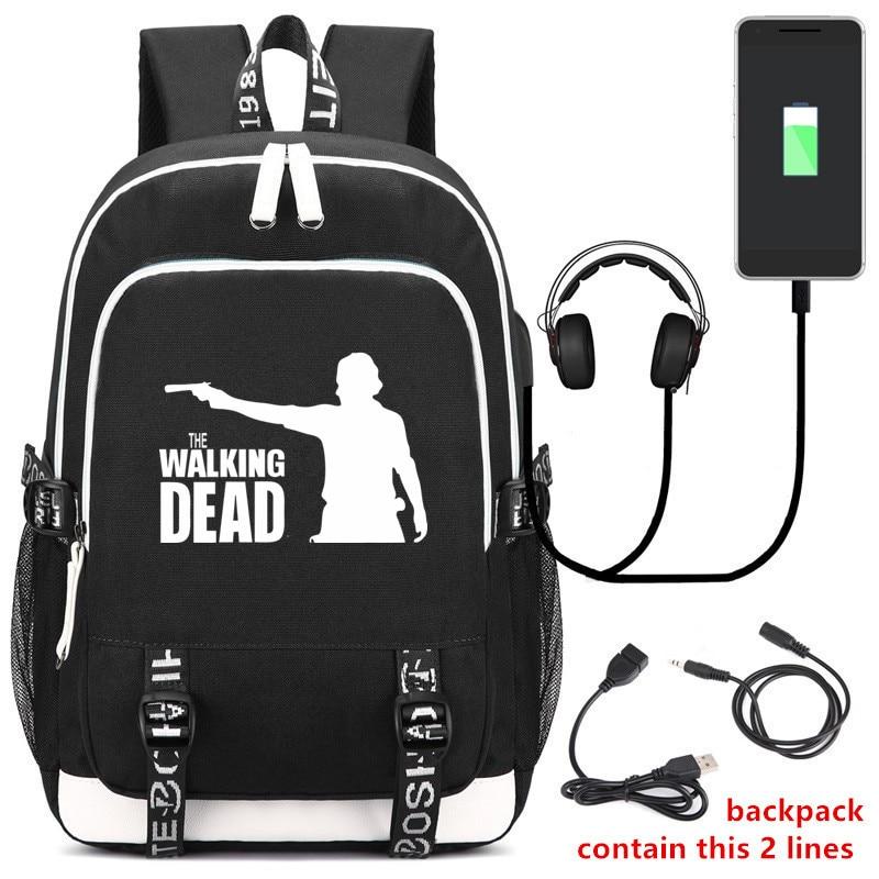 American The Walking Dead Unisex Travel Backpack USB Charging Laptop Backpack Canvas Letters Bagpack Mens Backpack Bag Rucksack