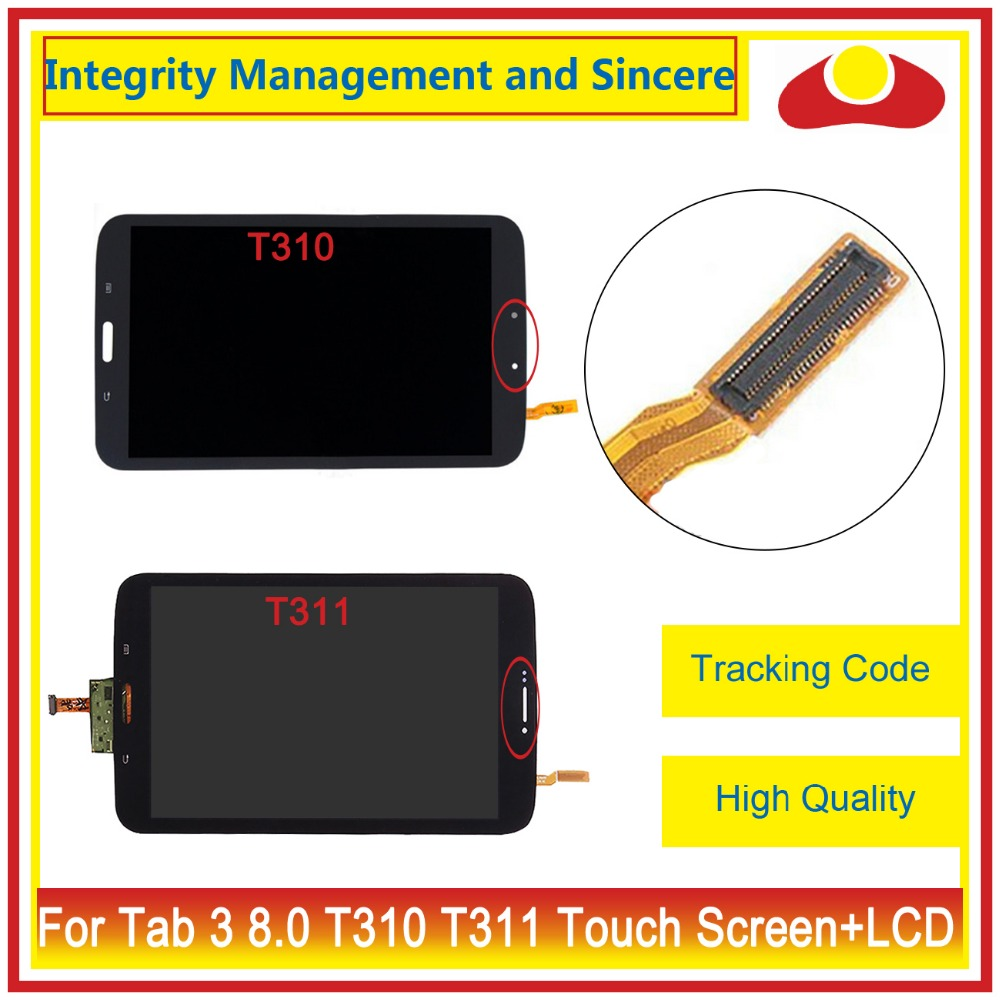 High Quality For Samsung Galaxy Tab 3 8.0 T310 T311 Touch Screen Digitizer+LCD Display Assembly Complete White Black+Tracking 20pcs lot new original for samsung galaxy s5 i9600 display lcd touch screen digitizer complete assembly free dhl