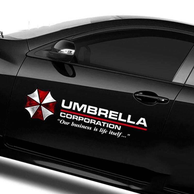 35-90 cm Couleur Umbrella Corporation Car Styling PVC Autocollant Côté Porte Corps Guirlande Capot Soleil Toit Carburant Cap Cool Décoration Stickers