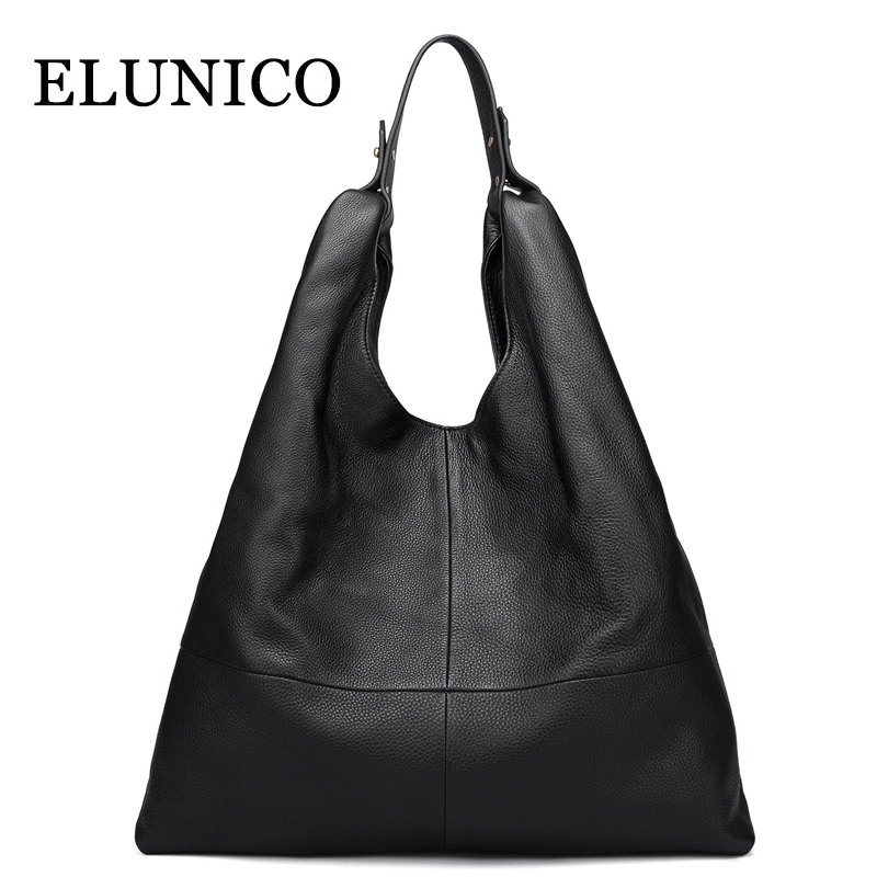 ELUNICO 2018 Summer Black Large Capacity Genuine Leather Tote Bags for Women Shoulder Bag Ladies Shopping Messenger Bags BolsasELUNICO 2018 Summer Black Large Capacity Genuine Leather Tote Bags for Women Shoulder Bag Ladies Shopping Messenger Bags Bolsas
