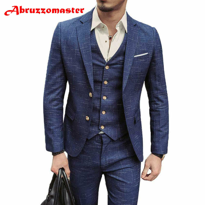 Abruzzomaster Custom Made Man Suits 3 Stuk Geweven Man Suits Slim Fit Bruidegom Smokings Blauw Stalknecht Pak Jas + broek + vest