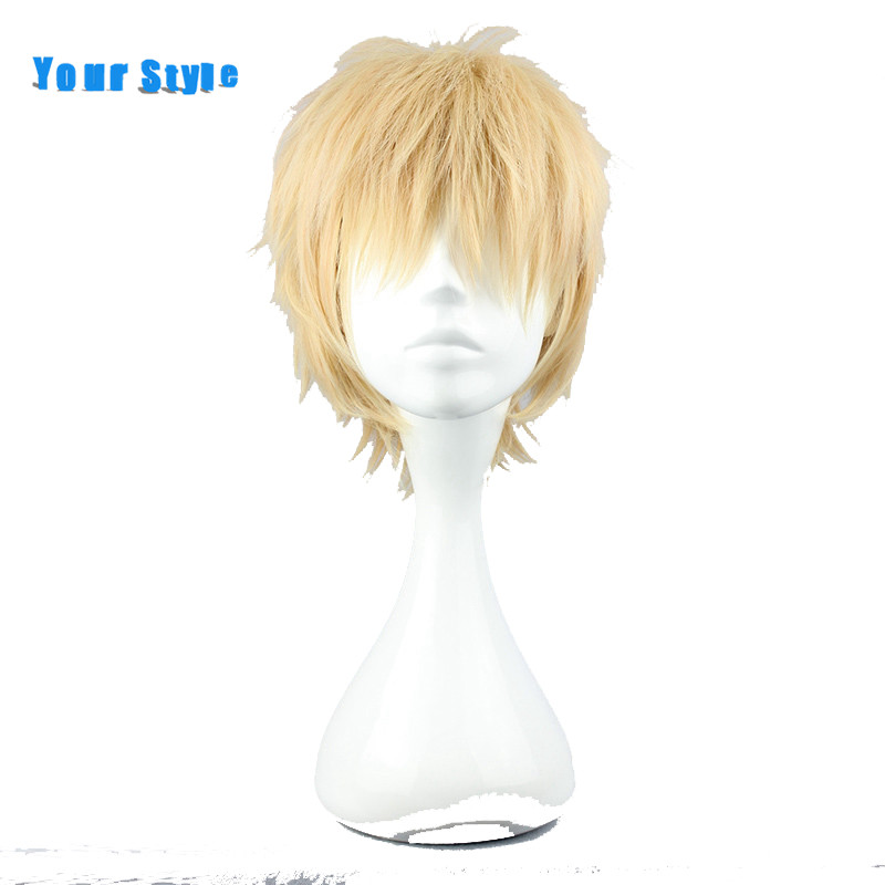 Your Style Short Blond Layered Curly Cosplay Wig Hairstyles for Party Synthetic Natural Hair Wigs High Temperature Fiber