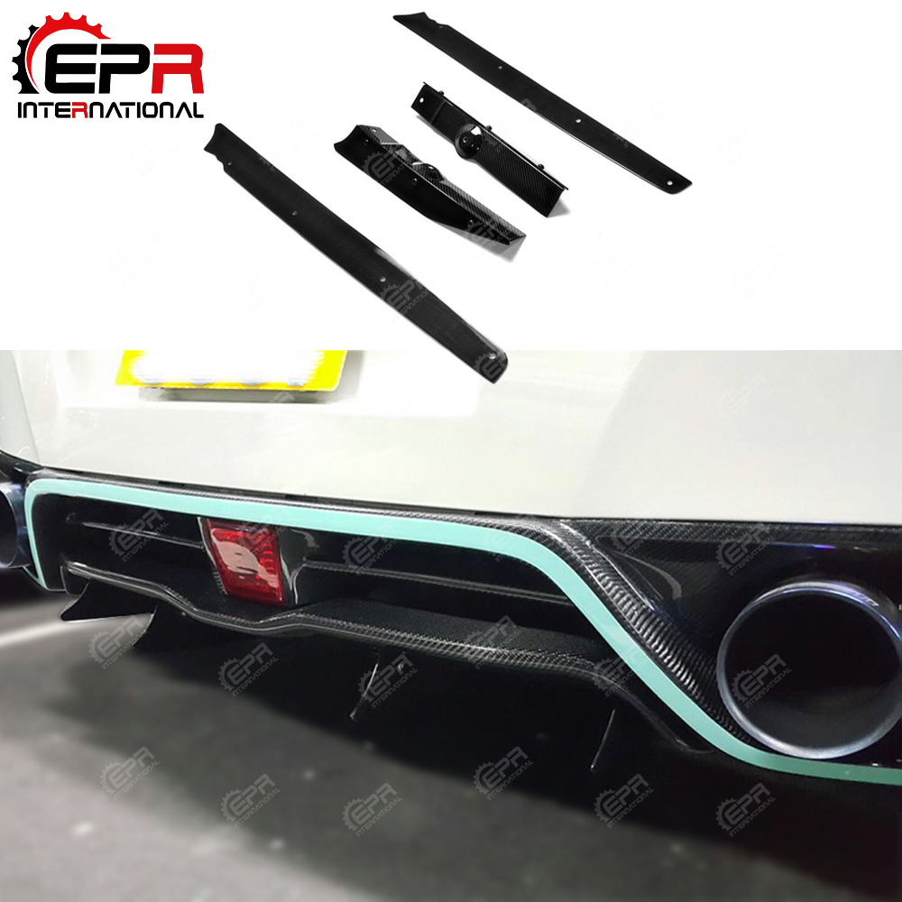 2013 Ver VRS Style Carbon Fiber Rear Diffuser Vertical Fin 4pcs Glossy Finish Bumper Splitter Add