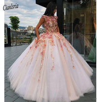 2019 Princess Floral Flowers Ball Gown Quinceanera Dresses Sweet 16 Dress 15 Year Prom Dresses Lace Appliques Puffy