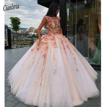 2019 Princesa Flores Vestido De Fiesta Quinceañera Vestidos Dulces 16 Vestido 15 Años Vestido De Graduación Cinturón Apliques Hinchados