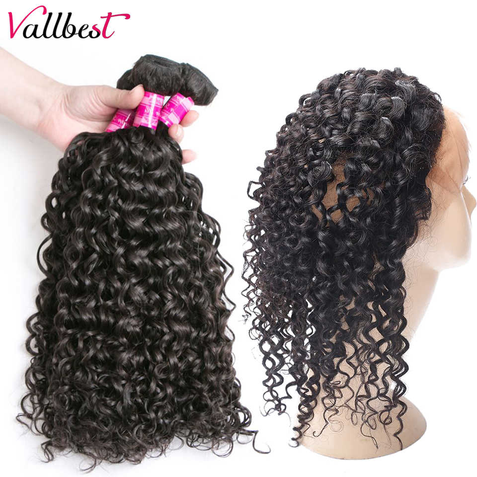 Vallbest Hair Pre Plucked 360 Lace Frontal with Bundle Water Wave Malaysian Human Hair Weave 3 Bundles with Frontal Closure Remy