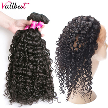 Vallbest волосы, предварительно выщипанные, 360, кружевные, фронтальные, с пучком, водная волна, малазийские человеческие волосы, плетение, 3 пряди...