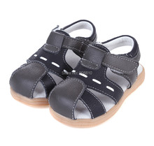 Hot !! baby soft leather sandals brown and black velcro strap closed toe boys genuine new arrival 2013 summer