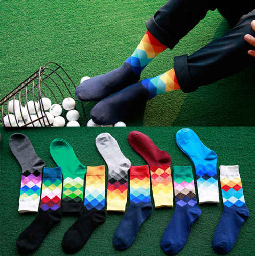 1pair Casual Men Cotton Colorful Geometry Socks Harajuku Gradient Color Business Dress Socks Diamond Plaid Long Socks calcetines