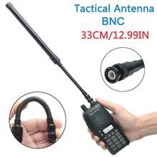 ABBREE BNC Pieghevole Tattico Antenna Dual Band 144/430MHz per Icom IC V80 IC V82 IC V85 Walkie Talkie Ham Radio