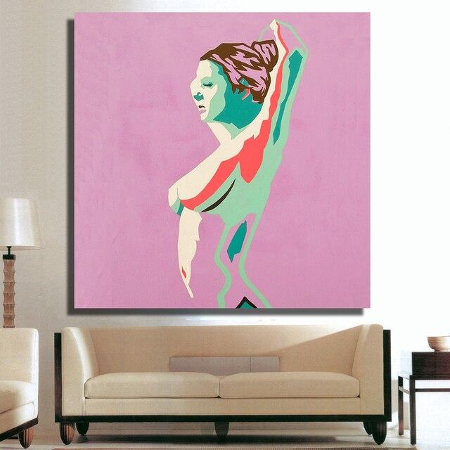 QK ART Home Decor Canvas Wall Art Woman Figure Oil Painting Print ...
