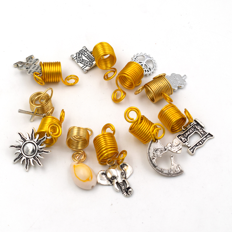 new 20Pcs 12mm mix hair braid dread dreadlock beads spiral shell elephant cuff clip 10mm ...