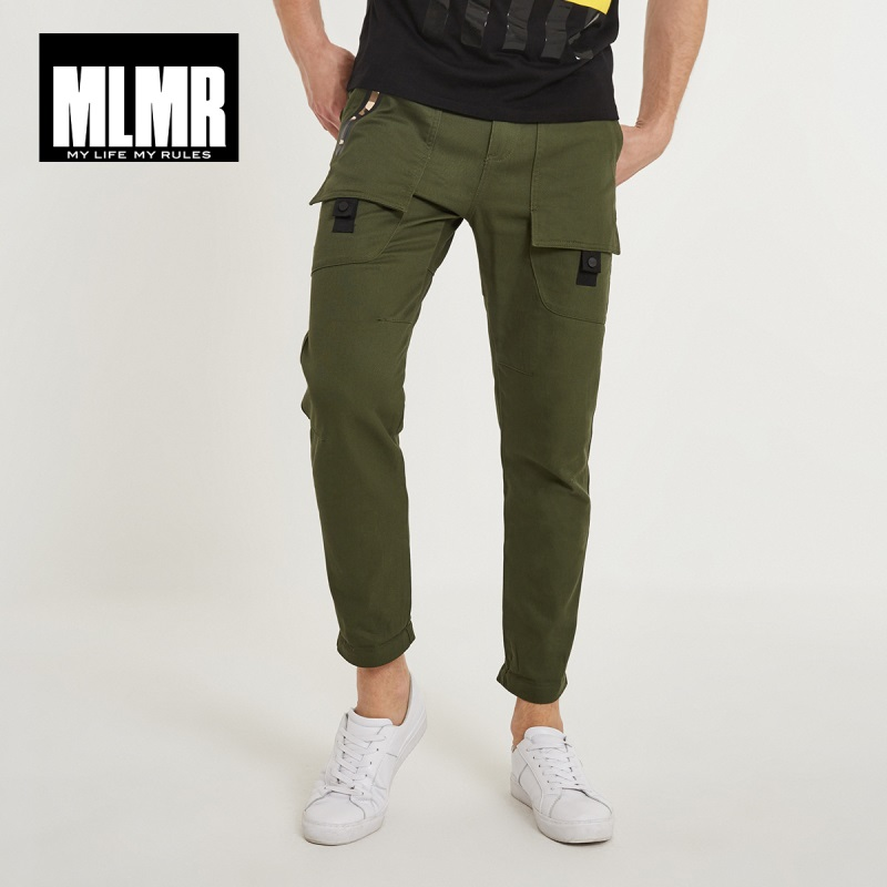 MLMR de los hombres 100% algodón estilo coreano impresión Casual Pantalones Slim Fit Hombre Pantalones de carga 2019 nueva marca invierno de 218314507