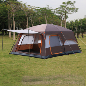 Image 1 - 4Colors Ultralarge 6 10 12 Double Layer Outdoor 2living Rooms and 1hall Family Camping Tent In Top Quality Large Space Tent