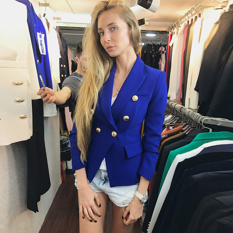 HIGH QUALITY Newest 2019 Baroque Designer Blazer Women's Metal Lion Buttons Double Breasted Blazer Jacket Size S-XXXL