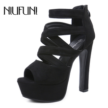 NIUFUNI Women Suede Peep Toe Cross Band Platform Sandals Sexy Ultra High Heels Black Ladies Shoes Ankle Strap Party Dress Pumps недорго, оригинальная цена