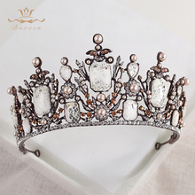 Bavoen New Fashion Retro Oversize Baroque Royal Crown Headpiece with Red Rhinestone Bridal Baroque Hair Accessores