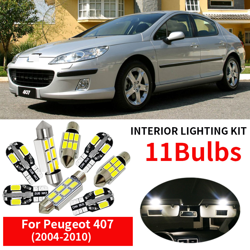 11Pcs Cool White Canbus <font><b>LED</b></font> Car Bulbs Interior Package Kit For 2004-2010 <font><b>Peugeot</b></font> <font><b>407</b></font> SW Map Dome Trunk Glove Box Light image