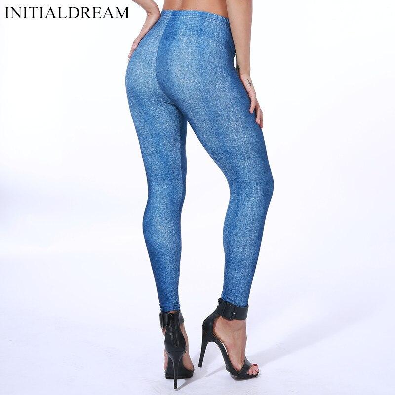 New Arrival Imitation Cowboy Women Printing Leggings Soft Skin Denim Slim Elasticity Pants Sexy Faux Jeans Fitness Legging
