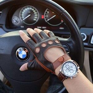 Image 5 - עור כפפות סגנון חדש אביב קיץ זכר חצי אצבע כפפות קטר אופנה לנשימה קמטים איש של נהיגה כפפות M 52