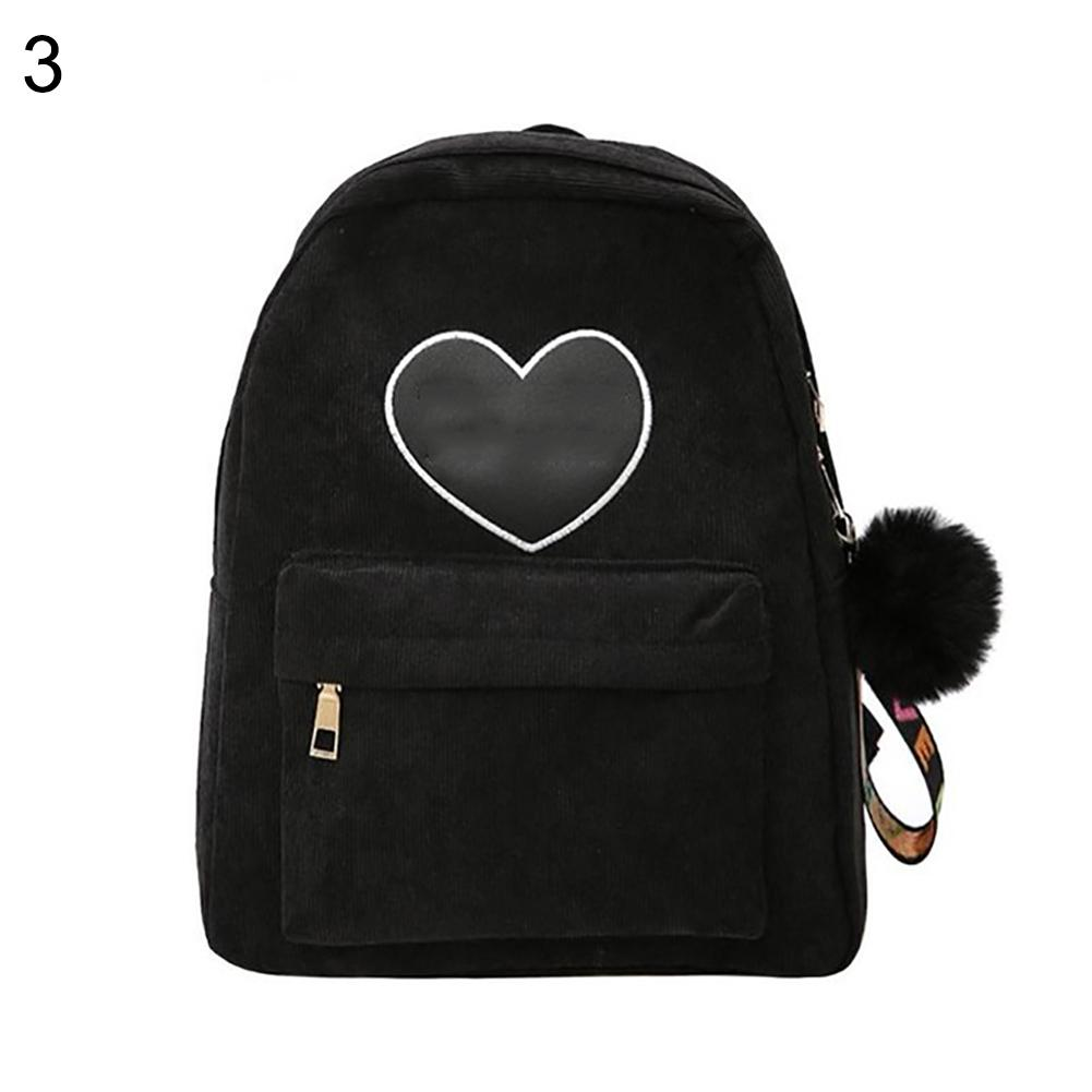 Fashion Solid Color Heart Patchwork Pompom Pendant Ribbed Casual Women Backpack