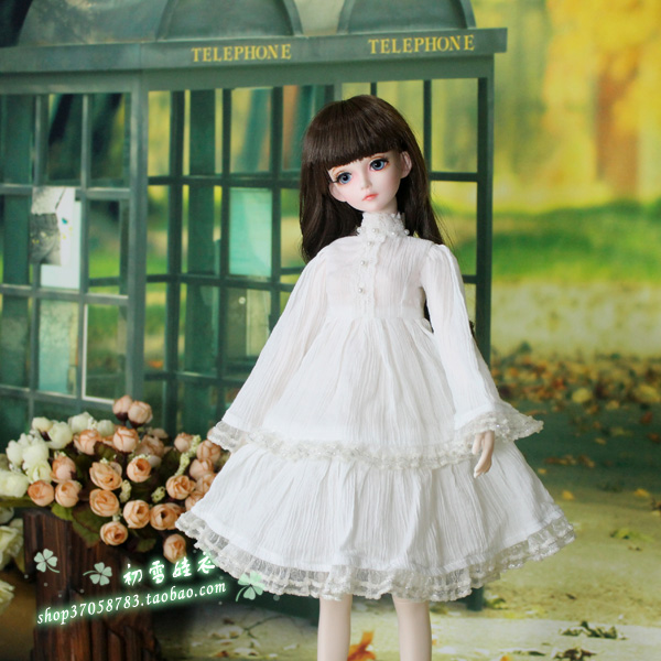 Spring Dress With White Dress For  1/3 1/4 1/6 BJD SD Doll Clothes Accessories