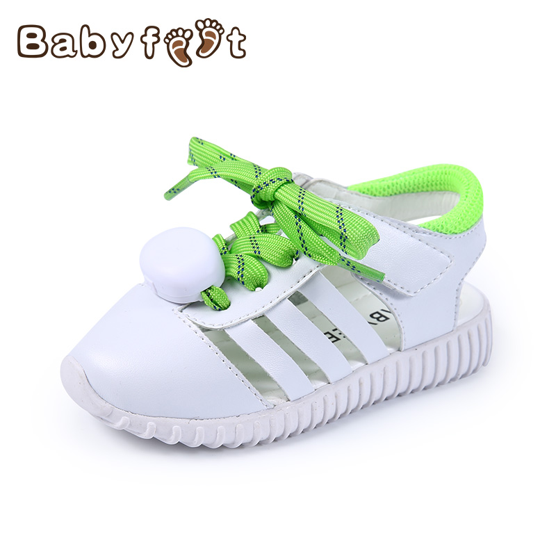 Babyfeet 1-3 years old Children Sandals low light toddler shoes girl boy infantil flat Glowing shoelace Summer slip kids sandals babyfeet summer cool toddler shoes 0 2 year old newborn baby girl
