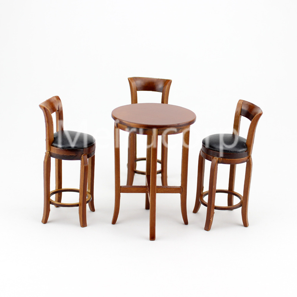 Dolls house miniature 1 12 scale furniture Walnut wood wooden bar table and 3pcs high chairs