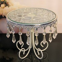 10PCS/lot Grade Glass Metal Silver Cake Stand With Bead and Unique Base For Wedding decorations Party decorations Event decor