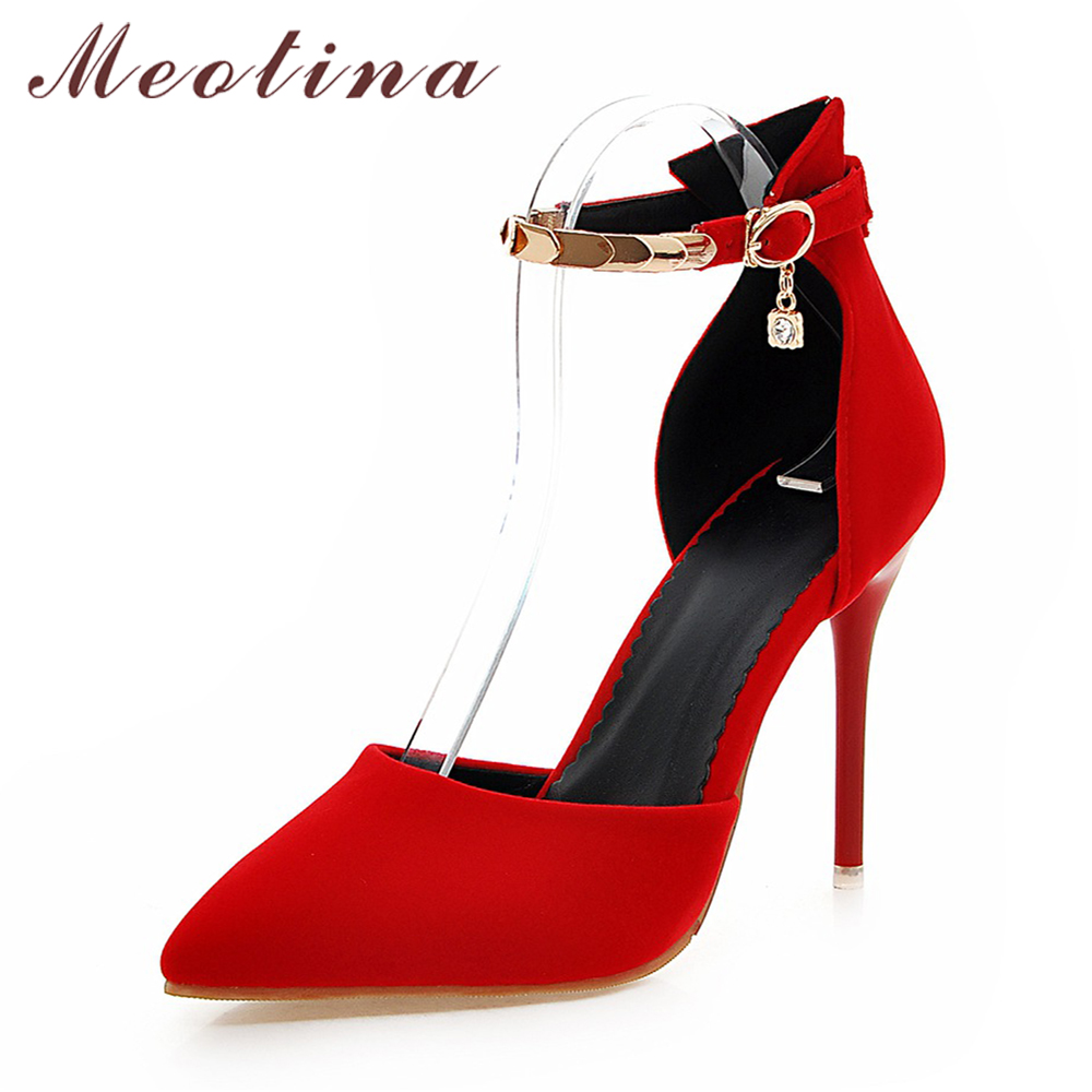 ae75ee310a23 Meotina Women Shoes High Heels Plus Size 10 44 45 Ankle Strap Stiletto  Pumps Ladies Sexy Party Shoes Point Toe Pumps Spring Red