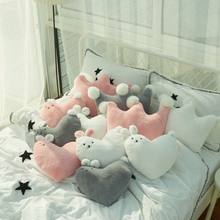 40x35cm white/grey/pin rabbit heart plush cushion pillow sofa crown shaped throw pillow stuffed back cushion birthday gift(China)