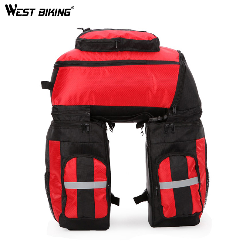 WEST BIKING 65L Waterproof Cycling Bag Bicycle Rack Bag Long Journey Luggage Mountain Bike Pannier Cycling Bags +Rain Cover цена