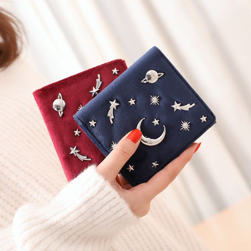 Women Wallet Female Slim Purse Short Small Long PU Leather Change Card Holder Coins Zipper Light Star Moon Velour Large bags/20